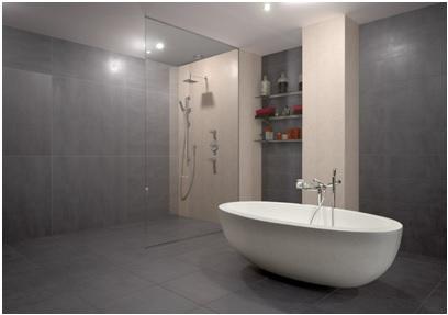 Salle de bain carrelage effet béton à Saint-Gely-du-Fesc par Les Carrelages de la Tour