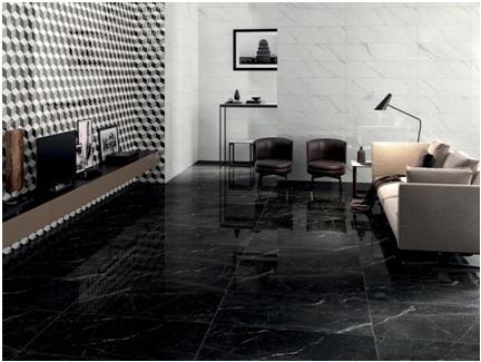 Séjour en carrelage effet marbre à Fabrègues par Les Carrelages de la Tour