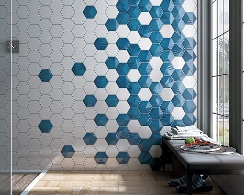 carrelages hexagonaux sur le sol d'une cuisine à Lunel
