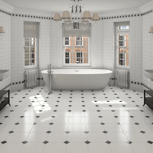 carrelage octogonal sur le sol d'une salle de bain à Lunel