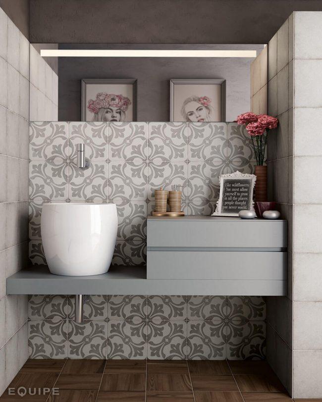 carrelage effet carreaux ciment dans une salle de bain