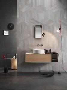 carrelage effet métal sur les murs d'une salle de bain à montpellier