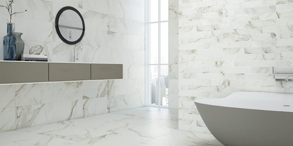 carrelage imitation marbre blanc à montpellier, Les Carrelages de la Tour