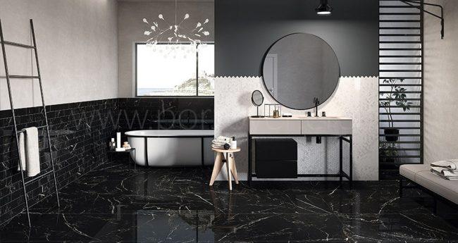 carrelage salle de bain effet marbre noir grabels
