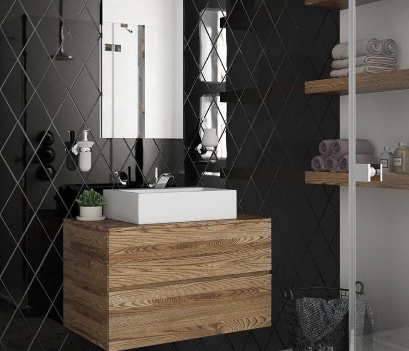 faïence murale salle de bain noir
