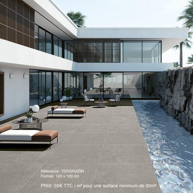 terra grained Zinc 120x120 59€m² ttc