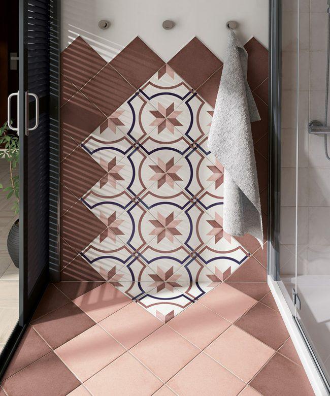 carrelage effet carreaux de ciment motifs traditionnels sale de bain