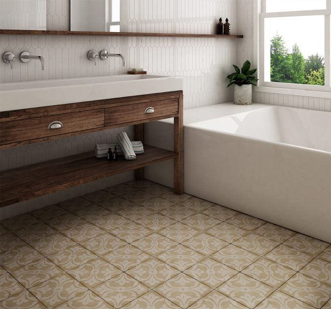 carrelage effet carreaux de ciment traditionnels salle de bain