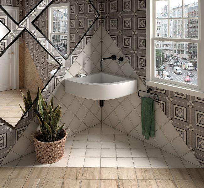 carrelage imitation carreaux de ciment motifs traditionnels salle de bain