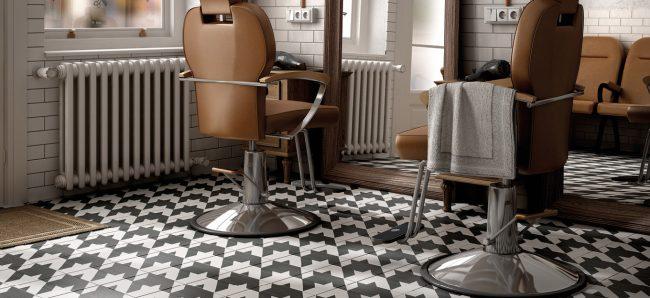 carrelage carreaux de ciment noir et blanc