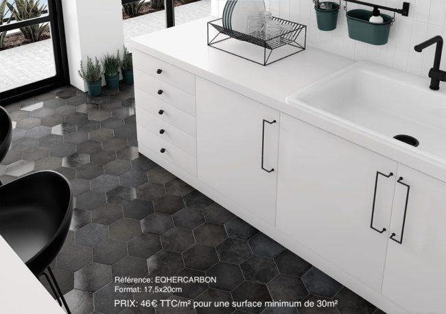carrelage imitation carreaux de ciment unis hexagones