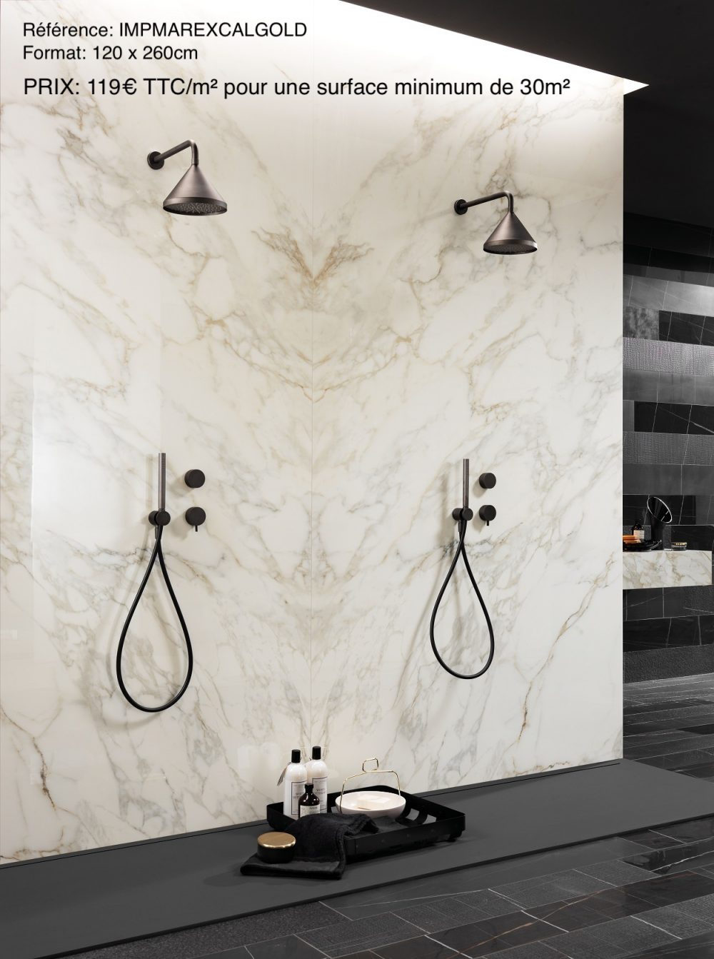 carrelage imitation marbre blanc douche