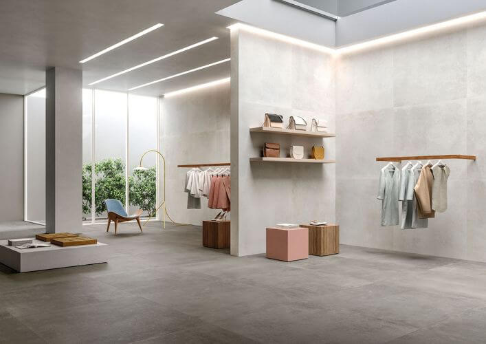 carrelage effet béton dans un grand dressing moderne