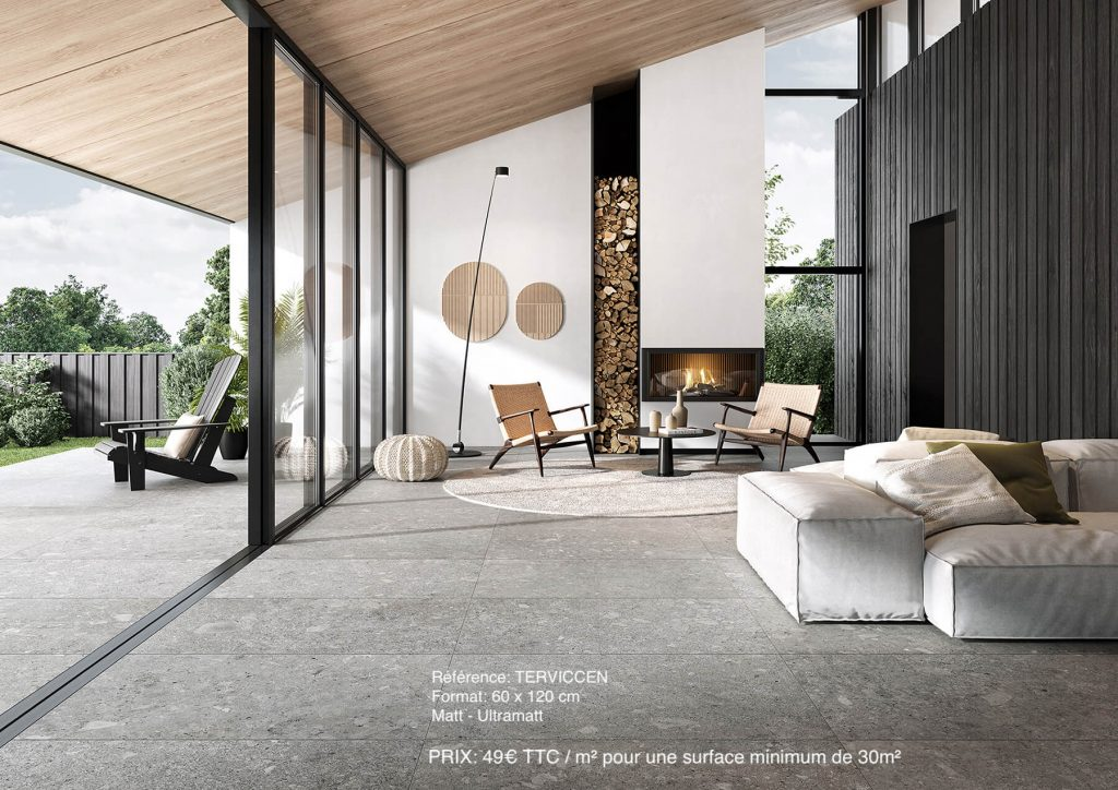 carrelage effet pierre dans un salon moderne
