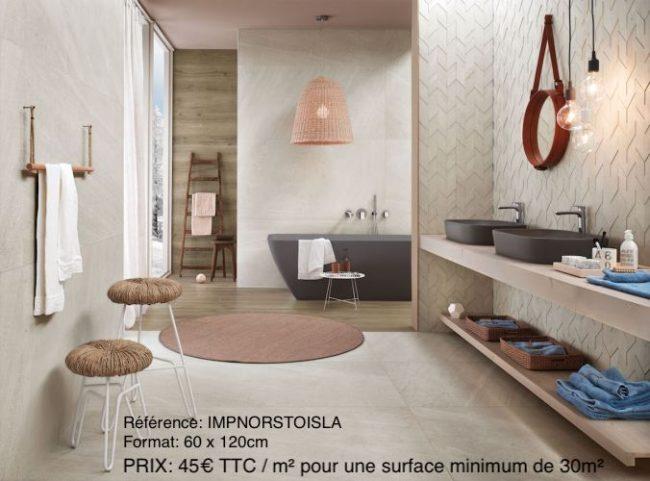 carrelage imitation pierre traditionnelle salle de bain