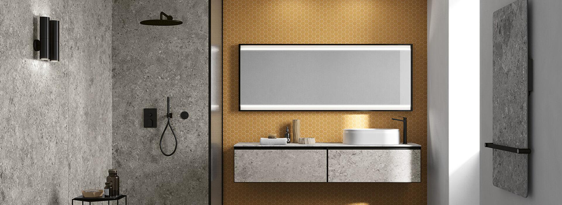 carrelage effet pierre moderne dans une salle de bain