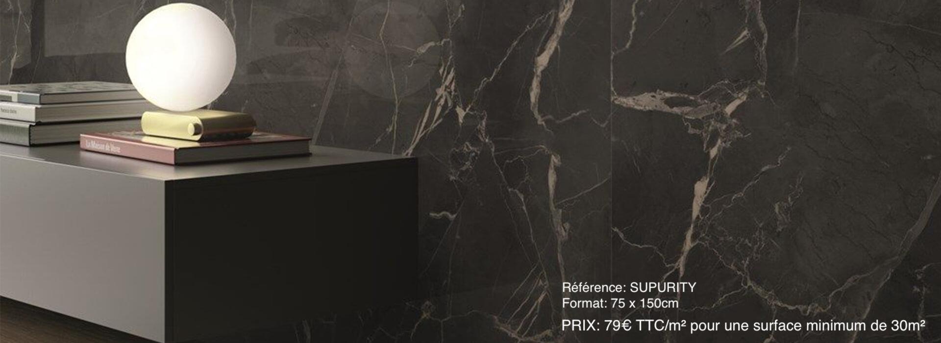 carrelage effet marbre noir