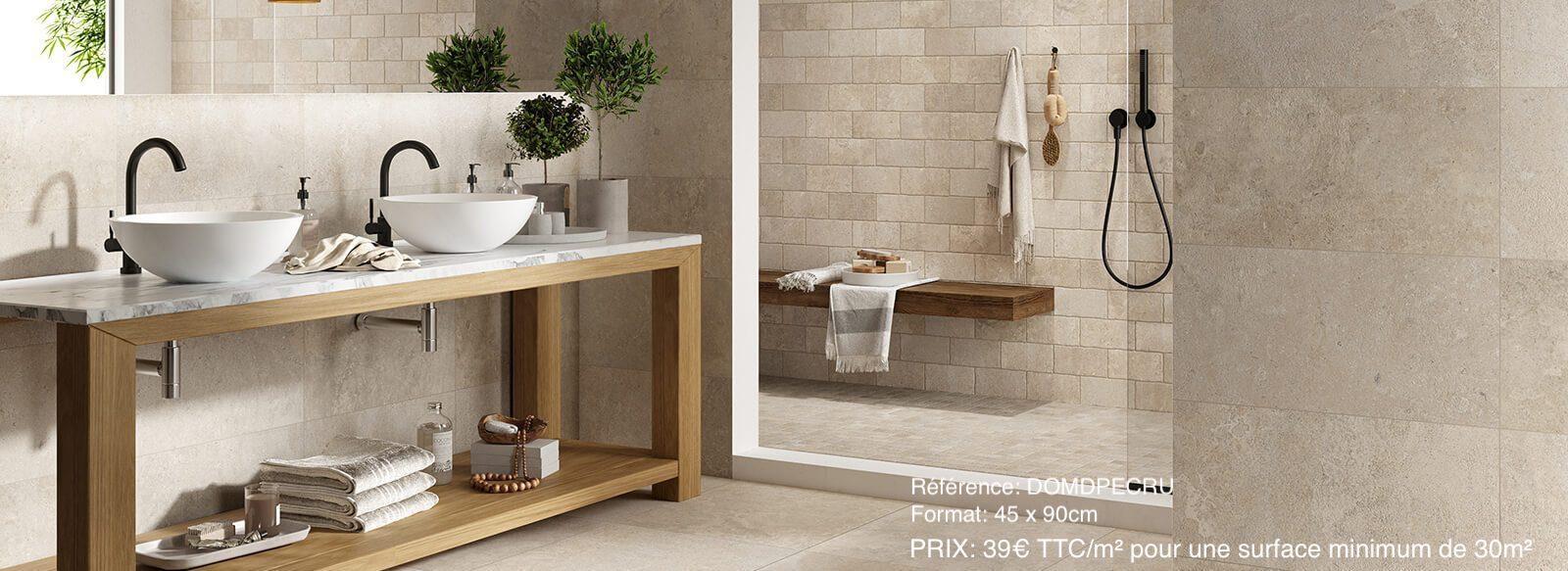 Salle de bain carrelage pierre nuancée