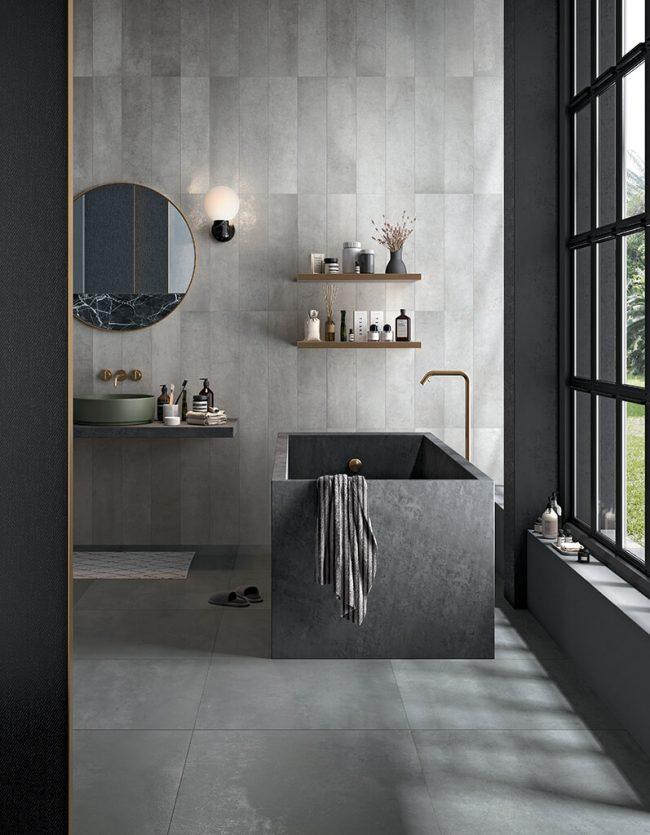 carrelage aspect metal salle de bain douche construction villa poussan