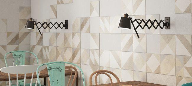 carrelage credence mur effet granito motifs géométriques aménagement décoration salle a manger cuisine construction villa lattes