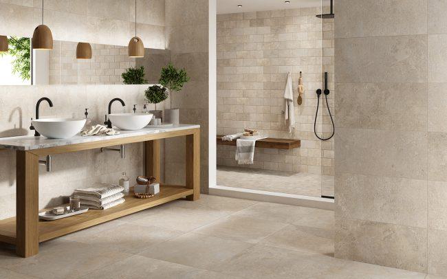 carrelage de la tour effet pierre traditionnelle sol mur salle de bain renovation mas salins de giraud