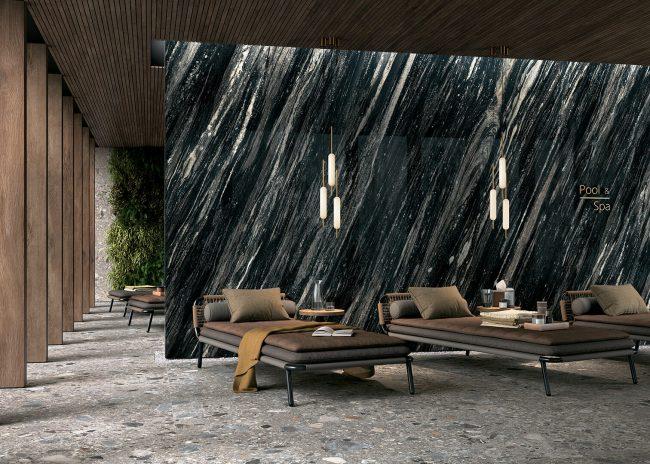 carrelage de la tour marbre noir mur grand format haut de gamme spa le Crès