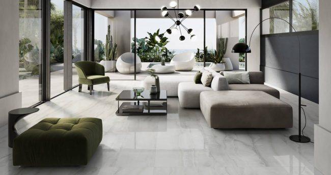 carrelage de la tour sol effet marbre gris brillant amenagement extension salon sejour tendance moderne construction maison Carnon