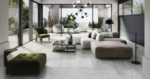 carrelage de la tour sol effet marbre gris brillant aménagement extension salon sejour tendance moderne construction maison Carnon