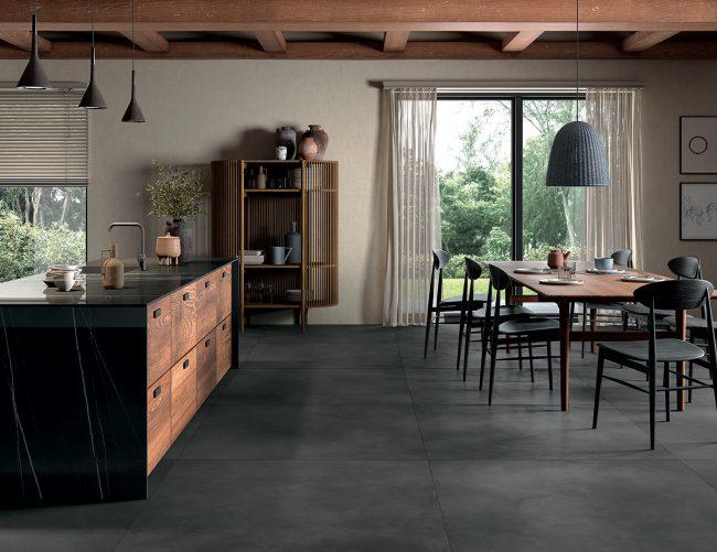 carrelage effet béton spatulé effet resine construction maison Saussan cuisine salle a manger