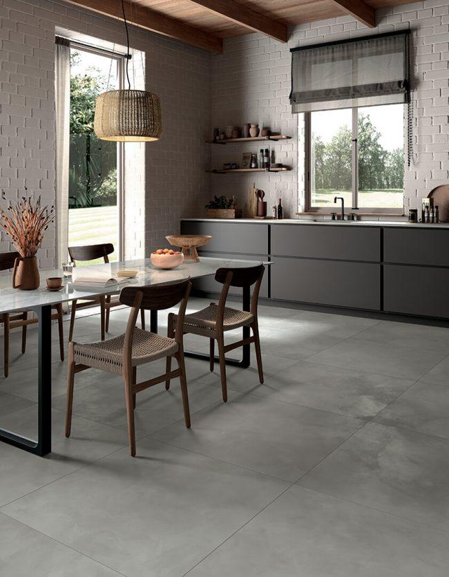 carrelage effet béton spatule resine cuisine tendance moderne rénovation villa Pignan
