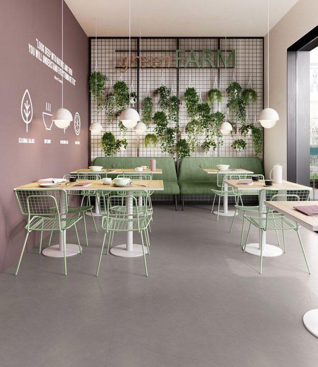 carrelage effet ciment spatulé beton ciré sol restaurant décoration tendance Montpellier