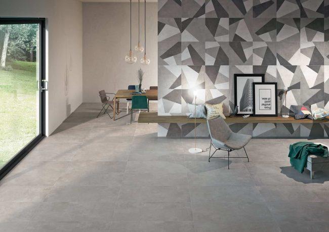 carrelage effet ciment spatule gris salon sejour salle a manger moderne graphique tendance construction villa Cournonterral