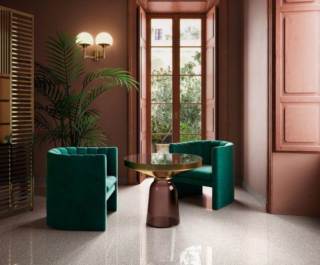 carrelage effet granito brillant pierre terrazzo poli beige sol salon sejour renovation appartement pignan
