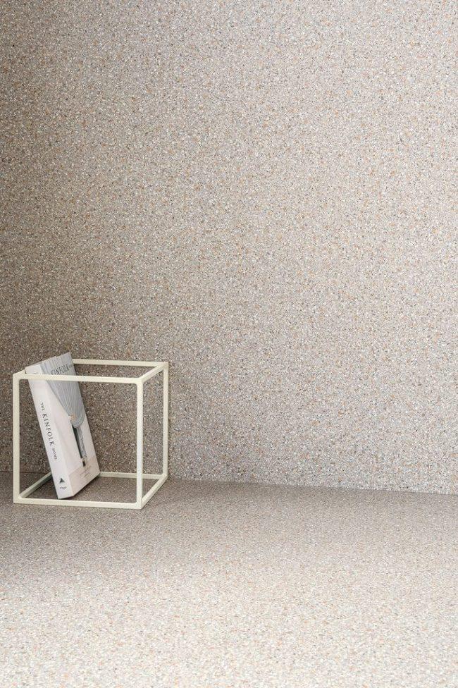 carrelage effet granito pierre terrazzo sol mur aménagement decoration crédence plan de travail cuisine teinte naturelle construction villa baillargues