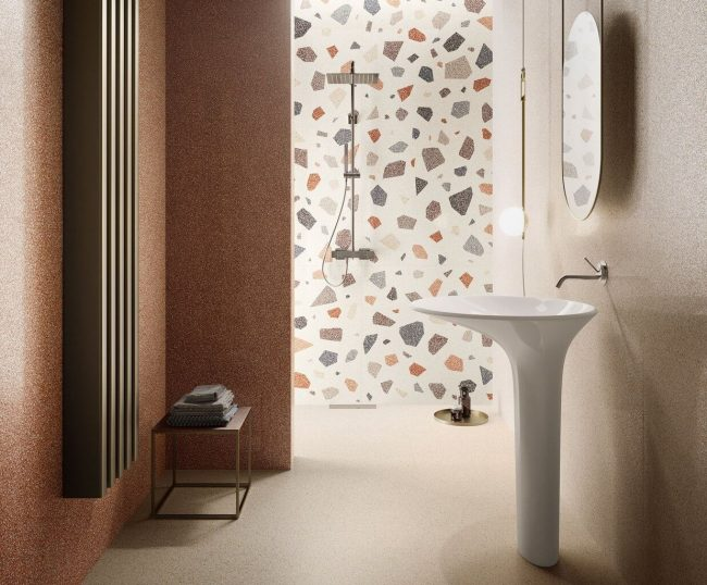 carrelage effet granito terrazzo a motifs rénovation décoration salle de bain tendance appartement saint jean de vedas