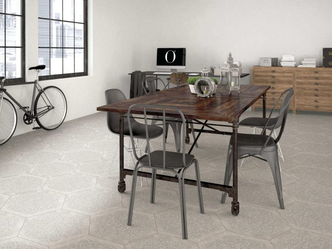 carrelage effet granito terrazzo calepinage hexagonal aménagement décoration cuisine salle a manger clapiers