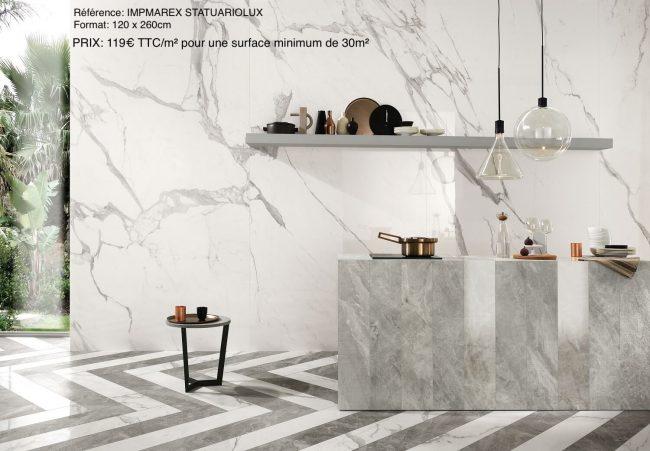 carrelage effet marbre blanc gris calacatta cuisine crédence sol mur aménagement villa construction saint bres