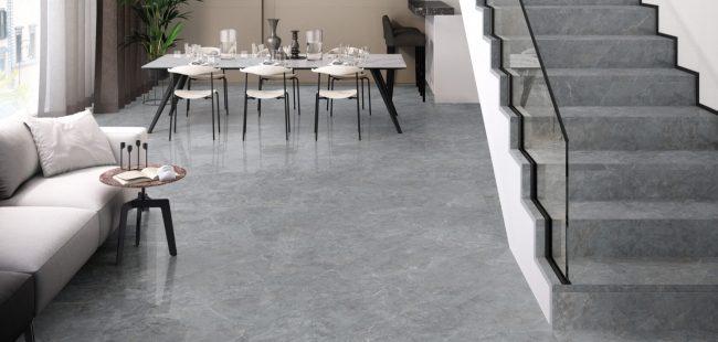 carrelage effet marbre gris sol salon sejour construction maison Fabrègues