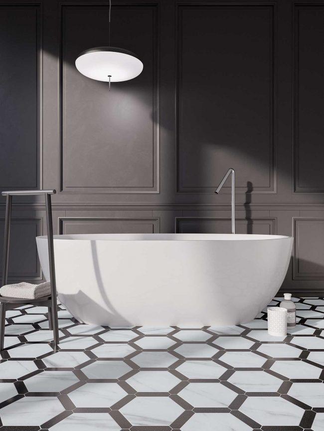 carrelage effet marbre hexagonal tendance art deco blanc noir aménagement rénovation salle de bain appartement haussmannien saint Georges d orques