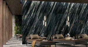 carrelage effet marbre noir brillant grand format renovation spa haut de gamme Montpellier