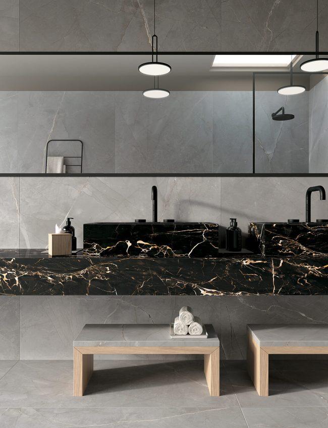 carrelage effet marbre noir decoration amenagement mobilier salle de bain renovation appartement haussmannien centre ville Montpellier