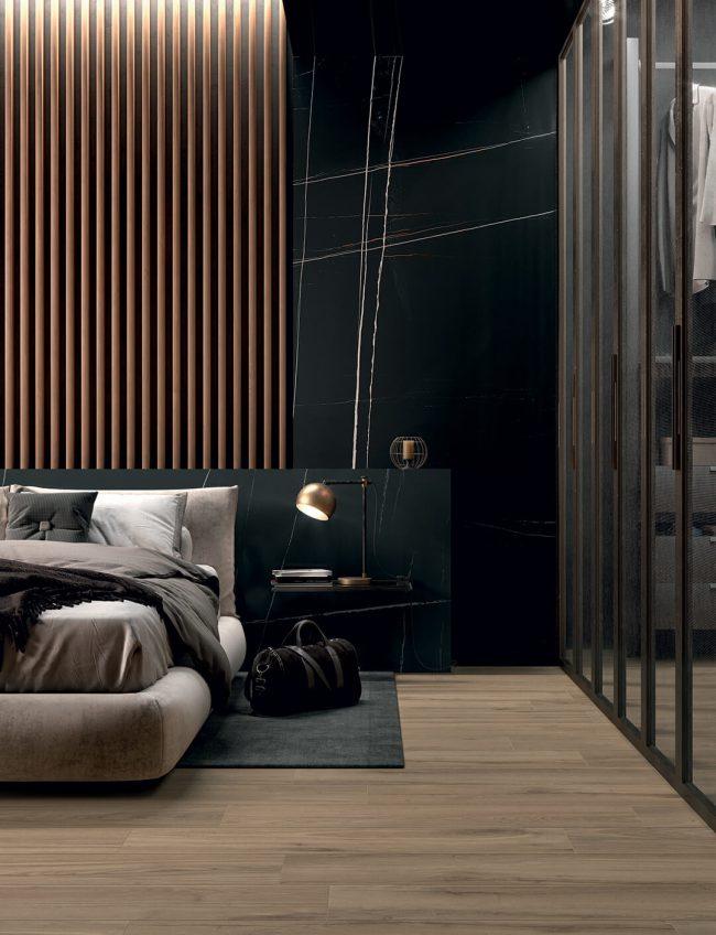 carrelage effet marbre noir decoration amenagement suite parentale chambre salle de bain mur douche renovation appartement saint jean de vedas