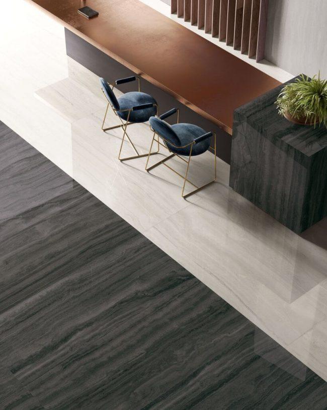 carrelage effet marbre noir sol brillant amenagement decoration hotel restaurant Lavérune