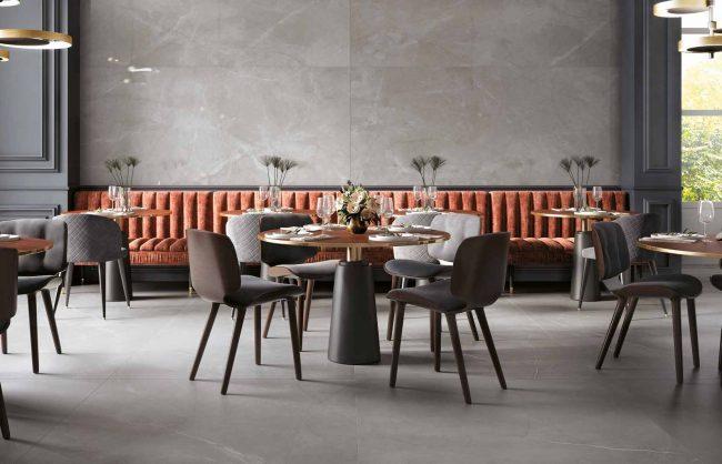 carrelage effet marbre sol mur amenagement decoration restaurant salle de réception Palavas