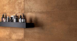 carrelage effet métal aspect industriel acier mur décoration aménagement loft industriel saint Georges d'orques