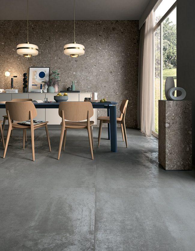 carrelage effet metal aspect metalique salle a manger style tendance appartement rénové Montagnac