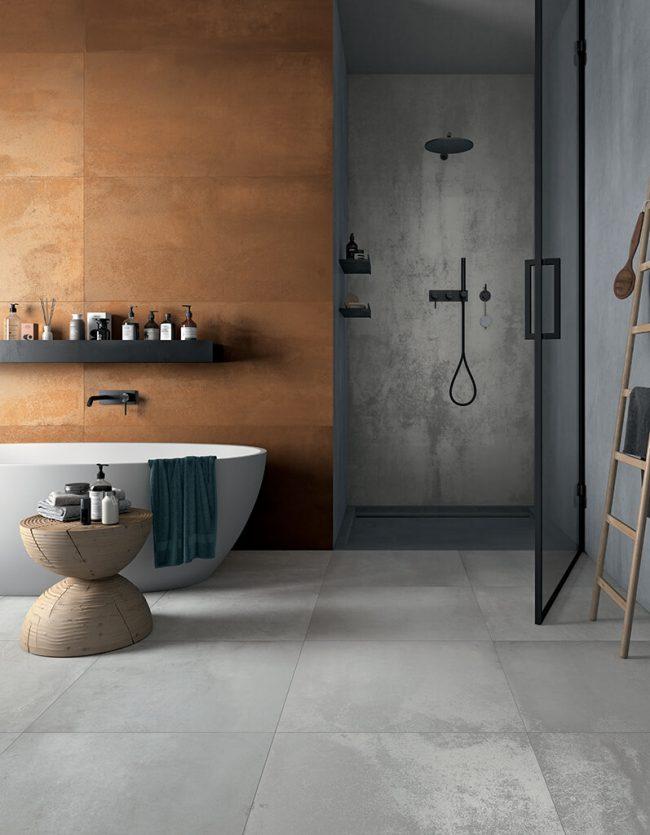 carrelage effet metal metalique salle de bain douche moderne extension villa saint jean de vedas