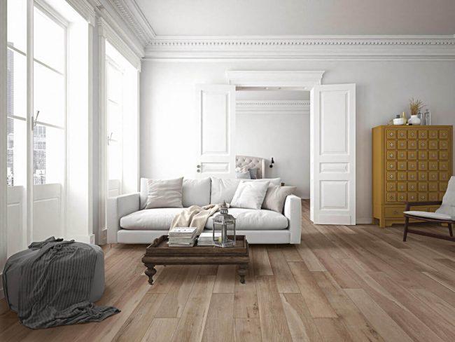 carrelage effet parquet naturel salon sejour appartement Haussmann Montpellier