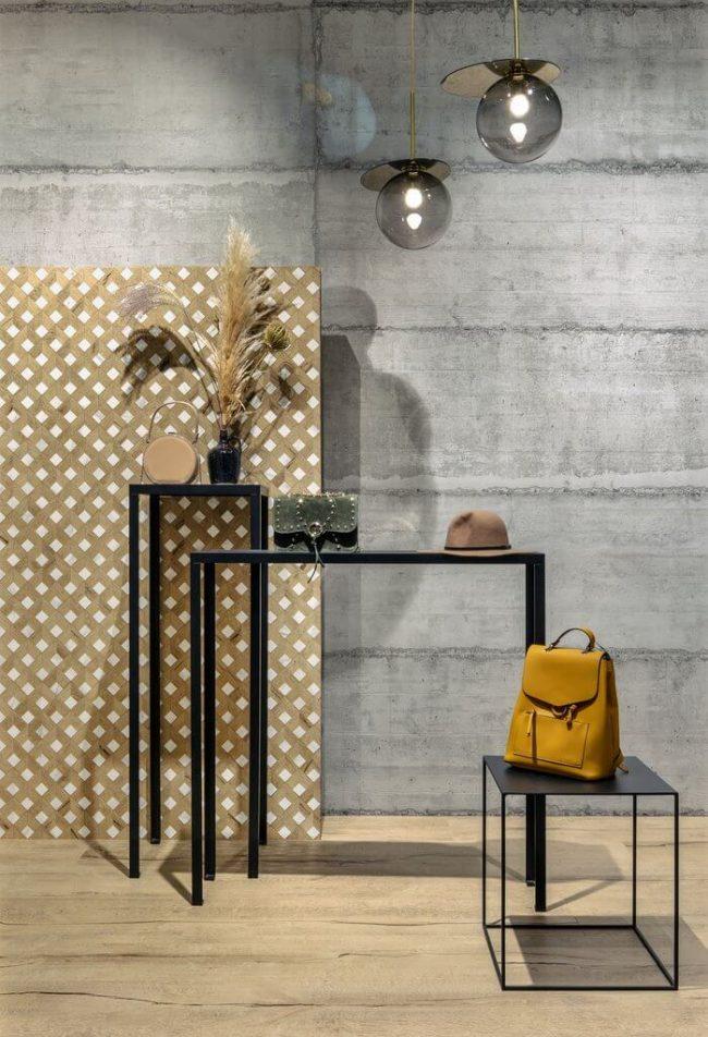 carrelage effet parquet style industriel loft entrée boutique ganges