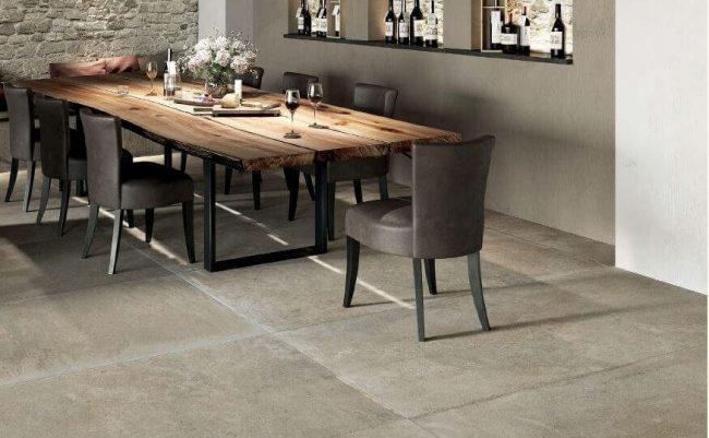 carrelage effet pierre authentique nuancee salle a manger cuisine maison construction lansargues